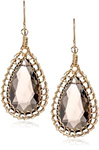 Misha Gold-Fill Wire Wrapped Smokey Quartz Tear Basket Earrings