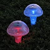 Newport Solar 2 Pack Iridescent Mushroom Color Changing Solar Lights