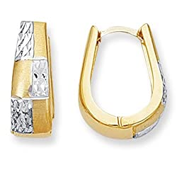 14k 2 Tone Gold Snuggable Huggie Reversible Earrings (18 x 14 mm)