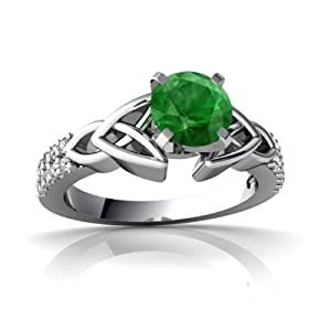 Genuine Emerald 14ct White Gold Engagement Ring - Size M