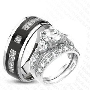 Sterling Silver 3 Piece His 8 5 Mm Hers 6 Mm Trio Wedding Ring Set Cz Stones Rhodium Finish Ladies Size 7