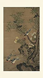 INK WASH Unframed Vintage Style Chinese Birds and Flowers Watercolour Painting Collection Wall Hanging Decoration for Office, Living Room and Bedroom Ready to Hang Large