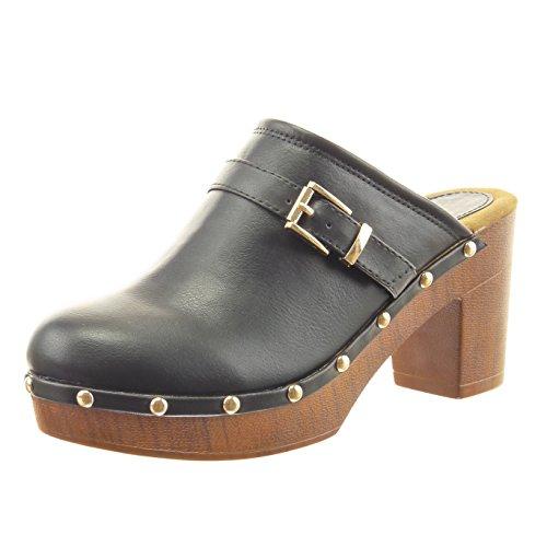 Sopily - Scarpe da Moda sandali zoccoli alla caviglia donna tanga borchiati Tacco a blocco tacco alto 8 CM - soletta sintetico - foderato di pelliccia - Nero CAT-10-FD259 T 37
