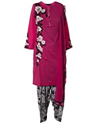 Rani Pink Fine Cotton With White And Black Resham Embroidered Kameez Complimented With Printed Salwar And Lace...