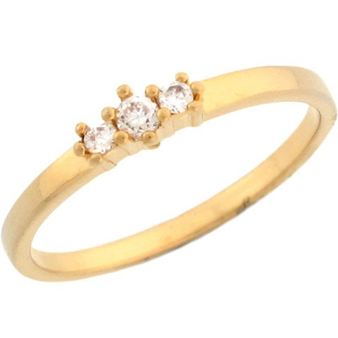 14k Yellow Gold Pretty Three Stone Round Cut Diamonds Promise Ring