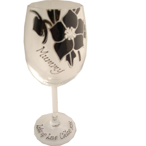 PERSONALISED Black Rose Mummy Wine Glass MAXIMUM 25 CHARACTERS