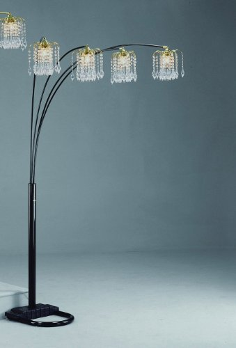 Black Rain Drop Arc Floor Lamp 91??H by Crown Mark