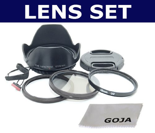 Essential FILTER SET for CANON POWERSHOT SX20 IS, SX10 IS, SX1 IS, Includes: 1 UV and 1 CPL High Resolution Filters + Adapter Ring + Screw Mount Petal Designed Lens Hood + Lens Cap with Cap Keeper + 1 Ultra Fine GOJA Microfiber Cleaning Cloth.