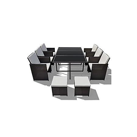 Muebles de Jardín XXL Negro Techno ratán Set–Cojín 8stuhl
