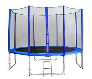 SixBros. Sixjump 3,70 M Trampoline de jardin bleu Certifié par Intertek / GS Filet de sécurité - Échelle - Housse de protection - CST370/L1720