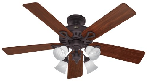 Hunter 20347 Westbury 4-Light 54-Inch 5 Walnut/Medium Oak Blades Ceiling Fan, New Bronze