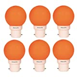 Philips Deco Mini 0.5-Watt B22 Base LED Bulb (Orange And Pack Of 6)