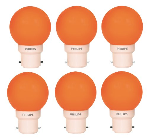 Philips Philips Deco Mini 0.5-Watt B22 Base LED Bulb (Orange And Pack Of 6) (Yellow)