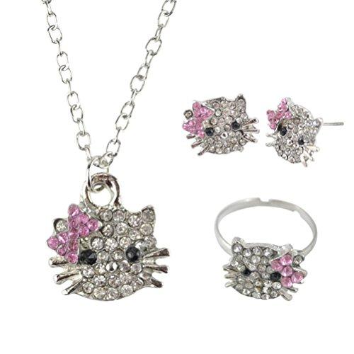 [BlueTop(TM) Kitty Rhinestone Crystal Jewelry Set Kid's Ring Earrings Necklace 3 in 1 Set] (Hello Kitty Ears)