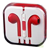 G4GADGET® Red Earphones Headphones With Remote, Mic & Volume Controls For Apple iPad4 iPhone 5,Ipod All Mp3 Mp4 Players Sony Creative Samsung, All Laptop Pc And All Devices With A Standard 3.5Mm Jack Plug