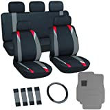 OxGord 21pc Black, Gray & Red Flat Cloth Seat Cover and Carpet Floor Mat Set for the Chevrolet Chevette Hatchback, Airbag Compatible, Split Bench, Steering Wheel Cover Included