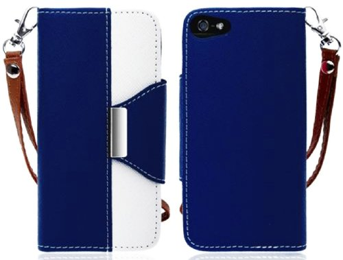 Mylife Navy Blue And White Classic Design- Textured Koskin Faux Leather (Lanyard Strap + Card And Id Holder + Magnetic Detachable Closing) Slim Wallet For Iphone 4/4S (4G) 4Th Generation Touch Phone (External Rugged Synthetic Leather With Magnetic Clip +