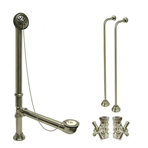 Nickel Clawfoot Tub Hardware Kit Drain, Single Offset Supply lines, Cross Stops (Clawfoot Supply Lines compare prices)