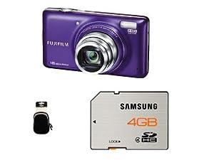 Fujifilm T400 Digital Camera - Purple (16MP, 10x Optical Zoom) 3 inch LCD Screen + Inov 8 Soft Case + Samsung 4GB Memory Card