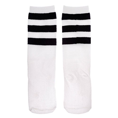 Zando Women's 3 Stripe Tube Dresses Over Knee Tights High Stockings Family Socks C White 1 Child