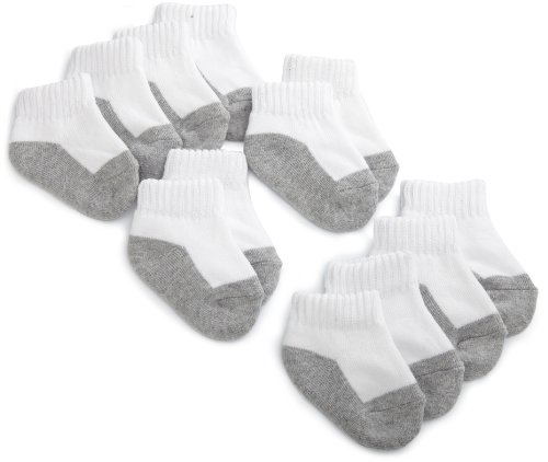Fruit Of The Loom Infant Boys Tuff n' Comfy 6 Pack Low Cut Sock, White/Gray, Small