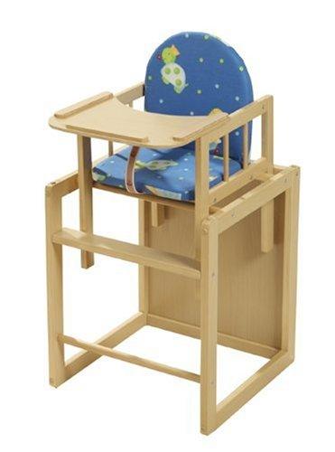 Roba  7512 V41 - Kombihochstuhl, Schichtholz mit Echtholzfurnier, stufenlos verstellbares Eßbrett, Stuhl gepolstert, Textilpolster PU beschichtet, zerlegt verpackt, Gesamthöhe 88 cm, Tischmaße 54x46x44 cm, Sitzh 27 cm (Einzelstuhl), 58 cm (aufgesetzt)