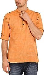 Svanik Men's Cotton Kurta (SVCK1206S, Orange, S)