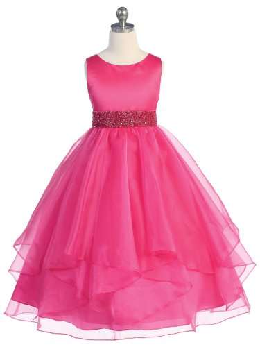 Girls Chic Baby Asymmetric Ruffles Satin/Organza Flower Girl Dress -Fuchsia-6-(CB302)