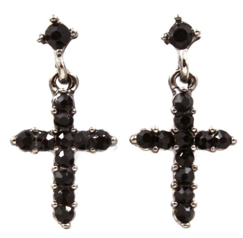 Adorable Small Jet Black Crystal Embellished Cross Drop Dangle Earrings Silver Rhodium Plating