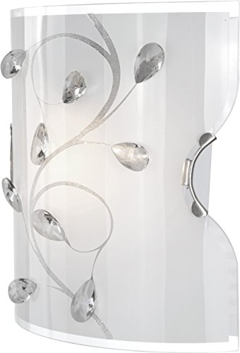 Wandleuchte nickel-matt, opal mit Muster,Kristalle klar, LxBxH:200x110x220, exkl. 1xE27 ILLU 60W 230