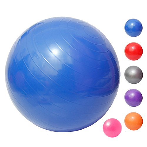 Yoga Fitness Ball Anti-Burst and Slip Resistant Ball with Pump (blue, M: Diameter:55cm/21.6