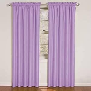 Wave blackout window curtain panel 63 inch purple home amp kitchen