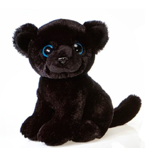 Fiesta Toys Sitting Black Panther with Big Eyes Plush Stuffed Animal Toy, 9""