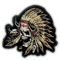 Indian Chief skull embroidered biker patch, 12
