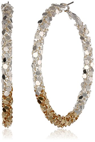 Two Tone Metal Mesh Dot Clutchless Shiny Gold And Shiny Silver Earrings