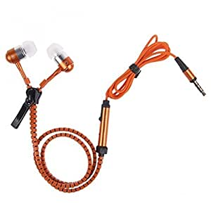 Dhhan Orange zipper headphones for Videocon Z55 Delite