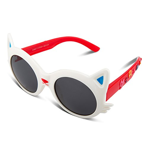 RIVBOS Rubber Bendable Cat Kids Polarized Sunglasses Age 2-10 Yr (White)