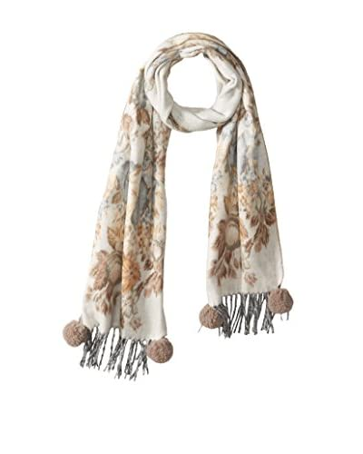 Mitchie's Matchings Women's Wool Scarf, Beige Floral