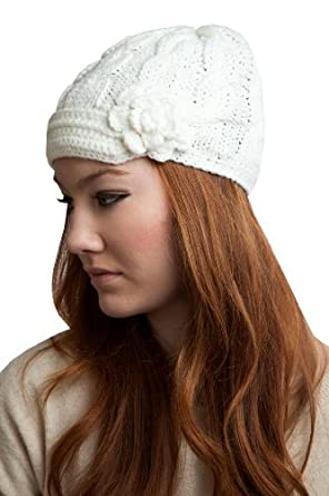 ACABK2914_OFFWHITE Super soft and cute hand knitted Newsboy with 1 inch short visor and flower embellishment