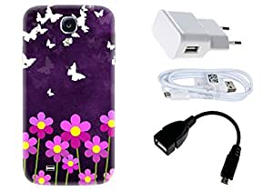 Spygen Samsung Galaxy S4 Case Combo of Premium Quality Designer Printed 3D Lightweight Slim Matte Finish Hard Case Back Cover + Charger Adapter + High Speed Data Cable + Premium Quality OTG