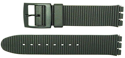 New 17mm (20mm) Sized Ridged Design Replacement Strap, Compatible for Swatch® Watch - Black