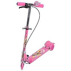 Swarish Kids 3 Wheeler Foldable Height Adjustable Scooter with Break & Bell(Pink)