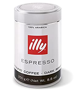 illy Dark Roast Coffee, Fine Grind, 8.8-Ounce Can