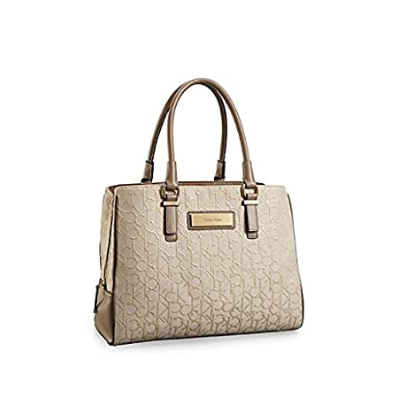 Calvin Klein Womens Candice Center Zip Carryall Bag Stonebeige