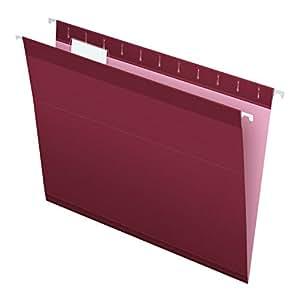 Pendaflex Reinforced Hanging Folders, Letter Size, Burgundy, 25 per Box (4152 1/5 BUR)
