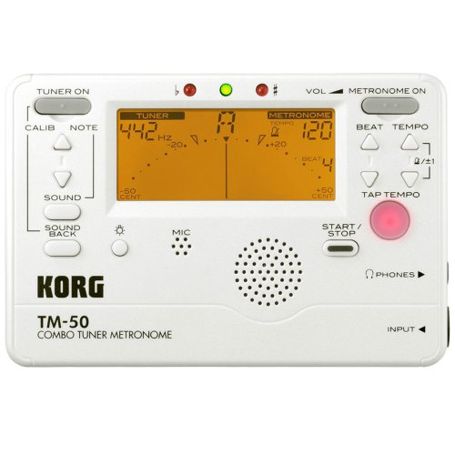 Korg TM50PW Instrument Tuner and Metronome, White