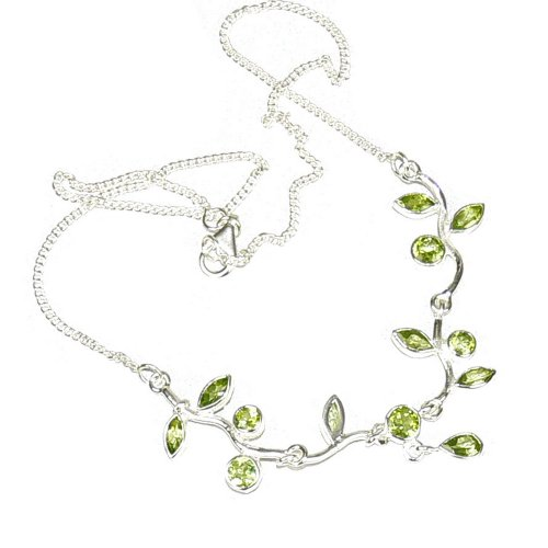 Franki Baker Faceted Green Peridot and 925 Sterling Silver Chain Leaf Necklace. 41cms.