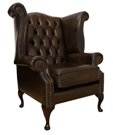 New!!! Genuine Leather Antique Brown Queen Anne Armchair