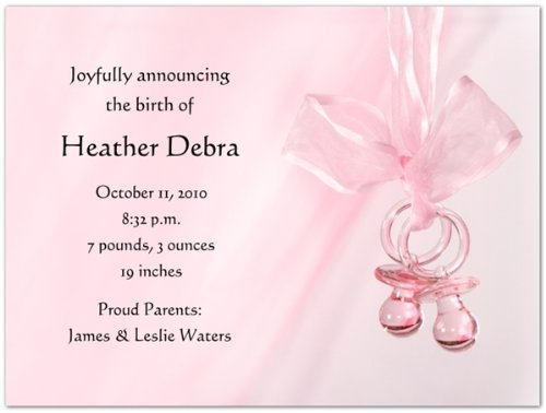 Pink Binkies Birth Announcements - Set Of 20 front-1061136