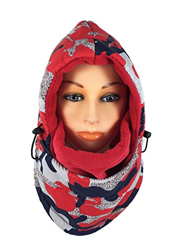 Women's Fleece Balaclava Hooded Face Mask Neck Warmer Ski Hood Snowboard Mask Wind Protector (Red Camouflage) (Hood And Mask compare prices)